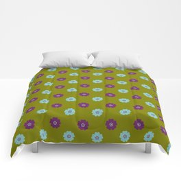DAISIES ON OLIVE GREEN Comforters