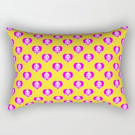 Skull heart pattern, punk rock skull, punk girl, love kills, yellow pink hearts, girly emo skull Rectangular Pillow