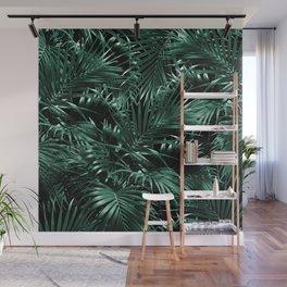 Tropical Palm Leaf Jungle Night #1 #tropical #decor #art #society6 Wall Mural