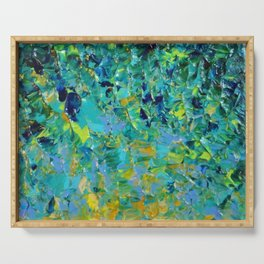 BEAUTY BENEATH THE SURFACE - Stunning Ocean River Water Nature Green Blue Teal Yellow Aqua Abstract Serving Tray
