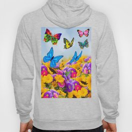 Flowers, sunflowers and butterflies Hoody