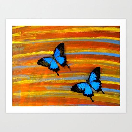Blue Swallowtails on #10 Art Print