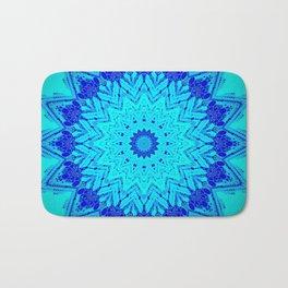 Bright blue turquoise Mandala Design Badematte
