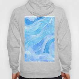 Watercolor blue waves Hoody