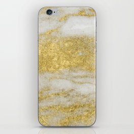 Marble - Glittery Gold Marble and White Pattern iPhone Skin