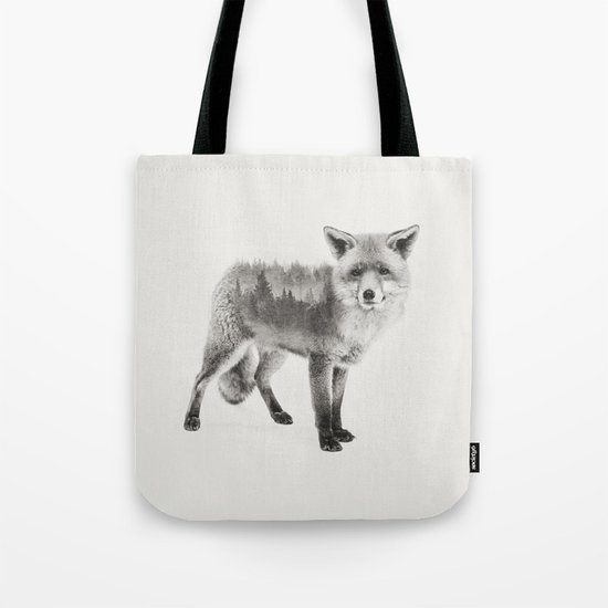 Fox Black and White Double Exposure Tote Bag