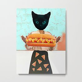 Let there be hot dogs and pizza rain Metal Print