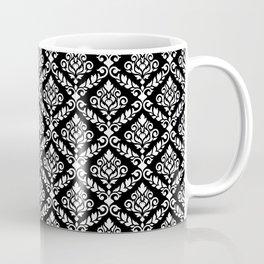 Prima Damask Pattern White on Black Coffee Mug