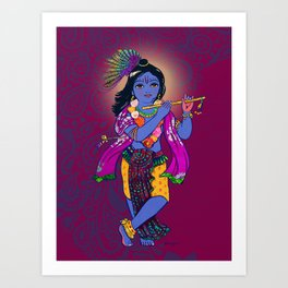 Little Krsna with Flute Colored Art Print
