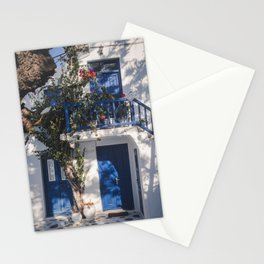 Cityview in Mykonos town | Mykonos Greece Travel Photography | Blue white Photo Print Stationery Cards