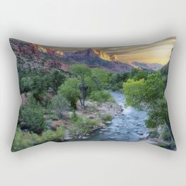 Sunset on the Virgin River - Zion National Park Rectangular Pillow