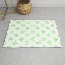 Snowflakes (Light Green & White Pattern) Rug