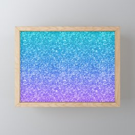 Purple and Emerald Green Gradient Glitter Print Framed Mini Art Print