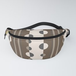 Geometric Circles and Stripes in Brown and Tan Fanny Pack