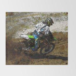 Round the Bend - Dirt-Bike Racing Throw Blanket