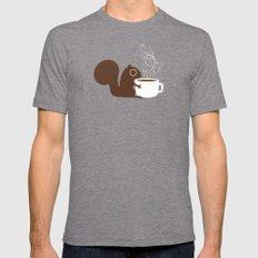 Squirrel Coffee Lover Mens Fitted Tee MEDIUM Tri-Grey