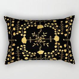 gold native floral Rectangular Pillow