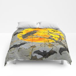HALLOWEEN NIGHT BATS & RAVEN GOLDEN  MOON Comforters