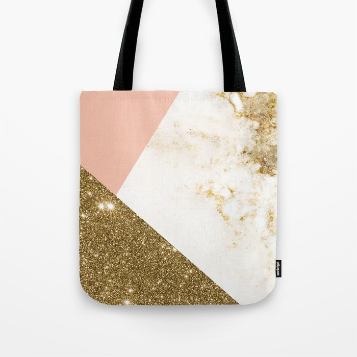 Gold marble collage Tote Bag