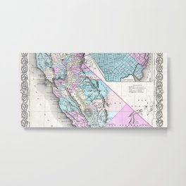 Map of California and San Francisco 1855 Metal Print