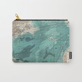 Vintage Green Transatlantic Mapping Carry-All Pouch