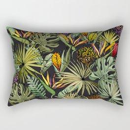 Tropical pattern on black Rectangular Pillow