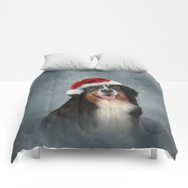 Bernese Mountain Dog in red hat of Santa Claus Comforters