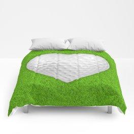 Golf ball heart / 3D render of heart shaped golf ball Comforters