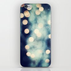 Bokeh Lights Sparkle Photography, Navy Gold Sparkly Abstract Photograph iPhone & iPod Skin