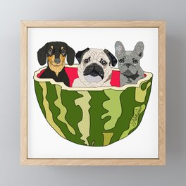Watermelon Dogs Framed Mini Art Print