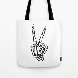 Peace skeleton hand Tote Bag