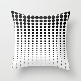 Reduced Black Polka Dots on Solid White Background Minimal Graphic Design Throw Pillow