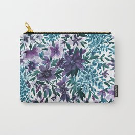 Watercolor Floral - Moonlight Garden Purple Blue Green Flowers Carry-All Pouch