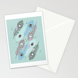 Lucky Peacock Feathers <sea mist> Stationery Cards