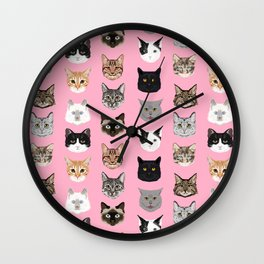 Cats Cats Cats purrfect gift present for cat lover cat lady cat man all cat breeds by pet friendly Wall Clock