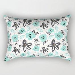 Mint and black flowers Rectangular Pillow