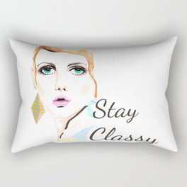 Vintage fashionista Twiggy Lesley Stay Classy Quote Illustration Rectangular Pillow