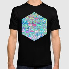 Art Deco Watercolor Patchwork Pattern 2 Mens Fitted Tee Black 2X-LARGE