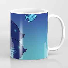 Nine Blue Fish with Patterns Coffee Mug