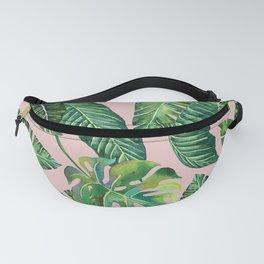 Jungle Leaves, Banana, Monstera Pink #society6 Fanny Pack