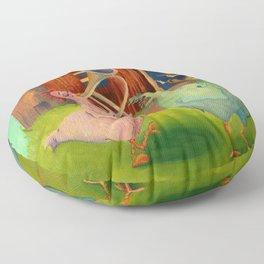 Chicken Parade Floor Pillow