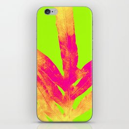Green and Ultra Bright Coral Fern iPhone Skin