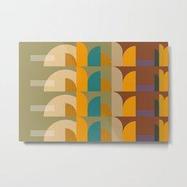 Mid-Century Geometric Pattern  Metal Print