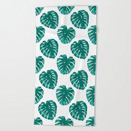 monstera leaves Beach Towel