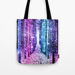 Magical Forest : Aqua Periwinkle Purple Pink Ombre Sparkle Tote Bag