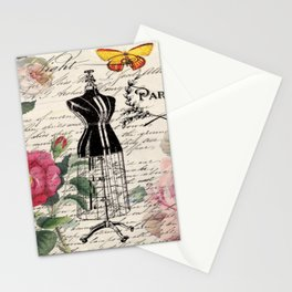 french country rose floral modern vintage dress mannequin paris fashion Stationery Cards