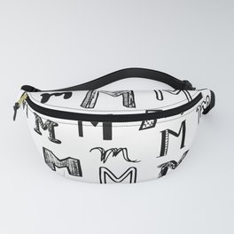 Letter M Black and White Doodles Fanny Pack