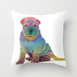Colorful Sharpei Throw Pillow