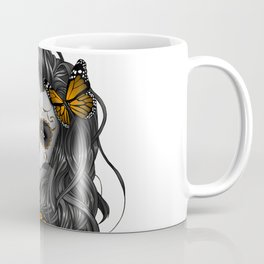 Sugar Skull Tattoo Girl with Butterflies Coffee Mug
