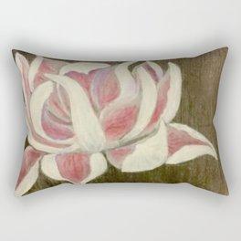 White and Pink Lotus Rectangular Pillow